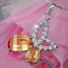 Amber CZ Created Diamond Butterfly Pendant Necklace XN275