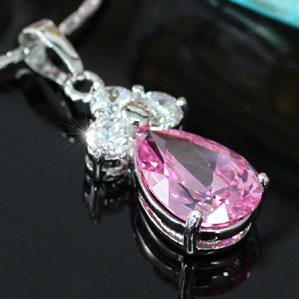 2.5 Carat Pear Cut Pink Created Sapphire Pendant & Necklace XN282
