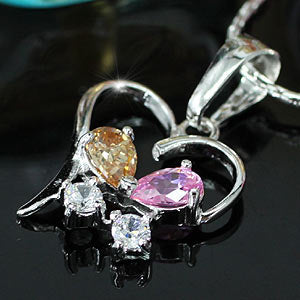 Multi-Colour CZ CreatedHeart Pendant & Necklace XN286