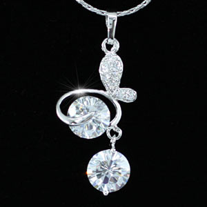 3 Carat Butterfly CZ Created Diamond Pendant Necklace XN290