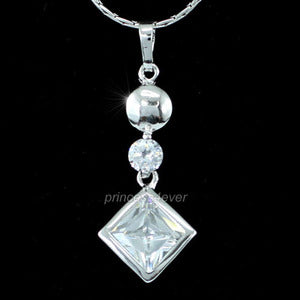 Sparkling 2 Carat CZ Created Diamond 18K Pendant & Necklace XN297