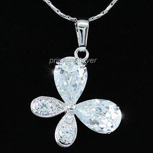 6 Carat Pear Cut CZ Created Diamond Butterfly Pendant & Necklace XN301