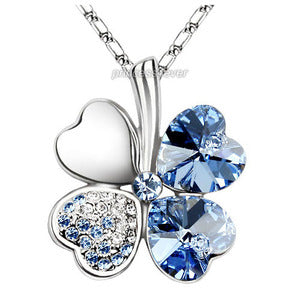 Blue 4 Leaf Clover Flower Heart Love Necklace use Austrian Crystal XN308