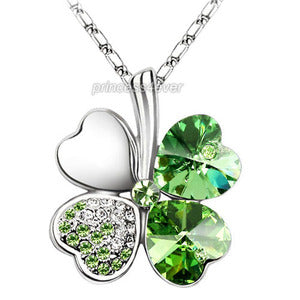 Green 4 Leaf Clover Flower Heart Love Necklace use Swarovski Crystal XN309