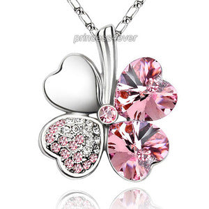Light Pink 4 Leaf Clover Flower Heart Love Necklace use Swarovski Crystal XN316