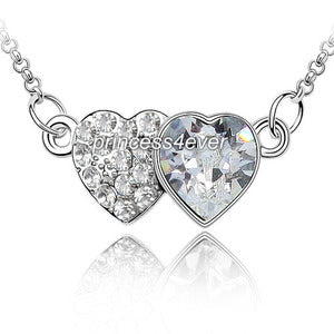 Double Heart Necklace use Austrian Crystal XN321