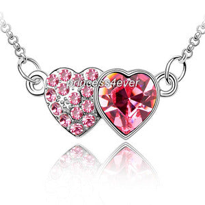 Pink Double Heart Necklace use Swarovski Crystal XN323