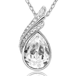 5 Carat Pear Cut Necklace use Austrian Crystal XN334