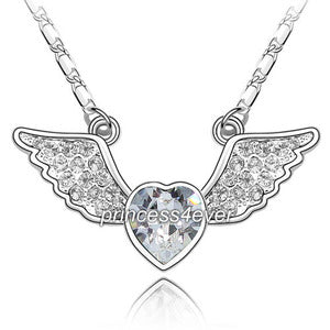 Angel Wing Heart Necklace use Austrian Crystal XN337