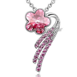 Dangle Pink Flower Necklace use Austrian Crystal XN350