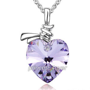 6 Carat Purple Heart Necklace use Austrian Crystal XN357