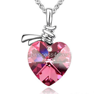 6 Carat Pink Heart Necklace use Austrian Crystal XN358