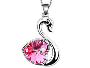3 Carat Hot Pink Heart Swan Necklace use Austrian Crystal XN366