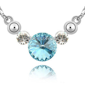 7 Carat Aqua Blue Stone Necklace use Austrian Crystal XN368