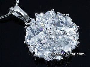 Spakling 7.5 Carat Heart Flower CZ Created Stone Pendant & Necklace XN389
