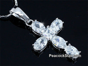 Spakling Cross 3 Carat Oval Cut CZ Created Stone Pendant &Necklace XN391