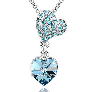 Blue Heart Pendant Necklace use Austrian Crystal XN409