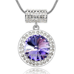 7 Carat Purple Pendant Necklace use Austrian Crystal XN413