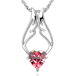 Pink Angel Wing Heart Pendant Necklace use Swarovski Crystal XN419