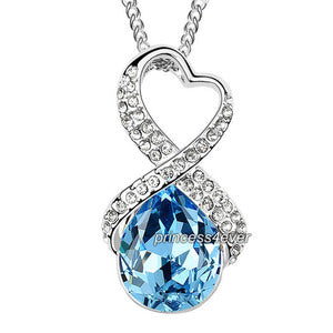 Blue 5 Carat Crystal Pendant Necklace use Austrian Crystal XN425