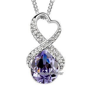 Purple 5 Carat Crystal Pendant Necklace use Swarovski Crystal XN426