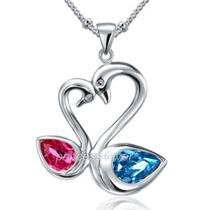 Pink Blue Swan Pendant Necklace use Swarovski Crystal XN442