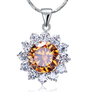 Spakling 8 Carats Flower Champagne Simulated Sapphire Pendant & Necklace XN448