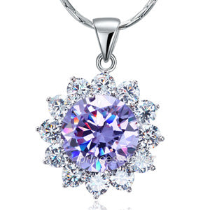 Spakling 8 Carat Flower Purple Created Sapphire Pendant & Necklace XN449