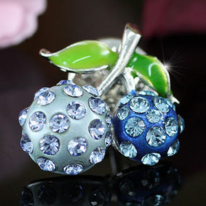 Blue Cherry Pin Brooch use Austrian Crystal XP002