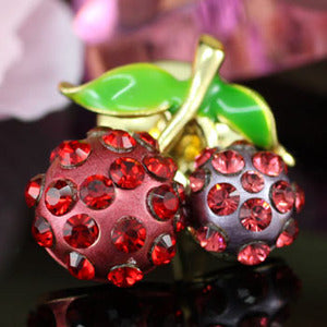 Red Cherry Pin Brooch use Swarovski Crystal XP003