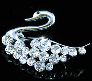 Swan Crystal Silver Color Brooch XP010
