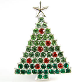 Christmas X'mas Tree Brooch use Austrian Crystal XP011