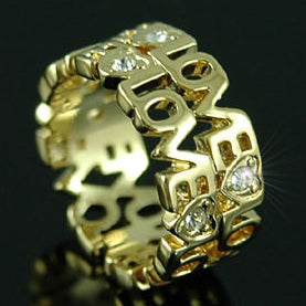 Love Gold Plated Ring use Swarovski Crystal XR063