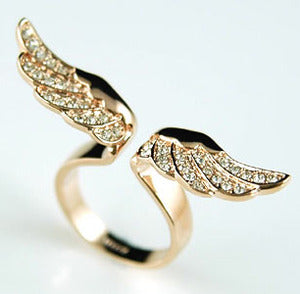 Angel Wing Rose Gold Plated Ring use Austrian Crystal XR067