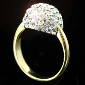 Ball Gold Plated Ring use Austrian Crystal XR069