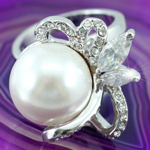Shell Pearl Ring use Swarovski Crystal XR083