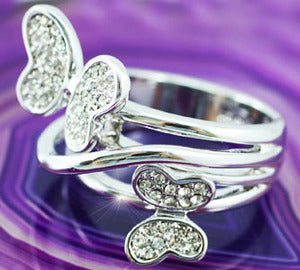 Butterfly Ring use Austrian Crystal XR085
