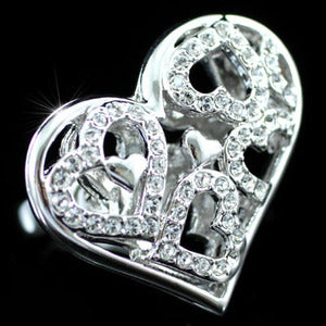 3D Hearts Ring use Austrian Crystal XR092