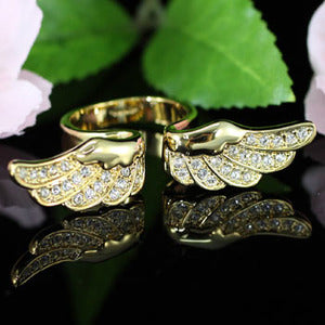 Angel Wing Yellow Gold Plated Ring w/ Austrian Crystal XR096