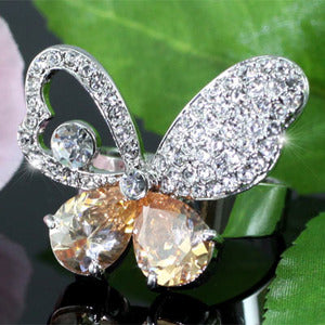 Butterfly Ring use Austrian Crystal Free Size XR097