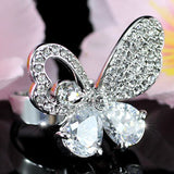 3 Carat Butterfly Ring use Austrian Crystal Free Size XR100