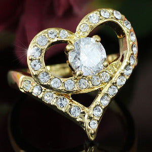 Heart Gold Plated Ring use Swarovski Crystal XR102