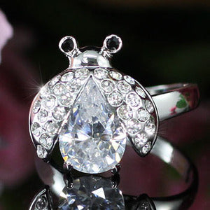 2 Carat Ladybug Ring use Austrian Crystal Free Size XR109