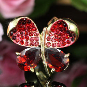 4 Carat Red Butterfly Ring use Austrian Crystal Free Size XR111
