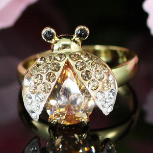 2 Carat Gold Plated Ladybug Ring use Austrian Crystal Free Size XR114
