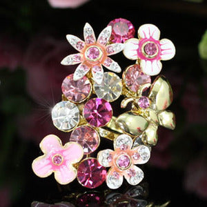 Butterfly Pink Flower Ring use Austrian Crystal XR117
