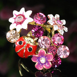 Ladybug flower Ring use Swarovski Crystal XR118