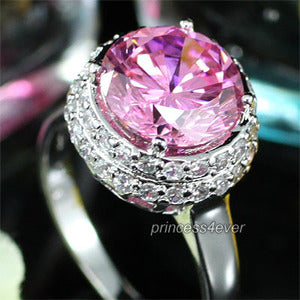 3.5 Carat Sparkling Pink Created Sapphire Ring XR133
