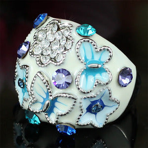 Blue Butterfly Pageant Party Ring use Austrian Crystal XR141