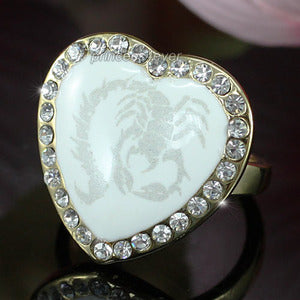 White Heart Scorpion Ring use Swarovski Crystal XR144